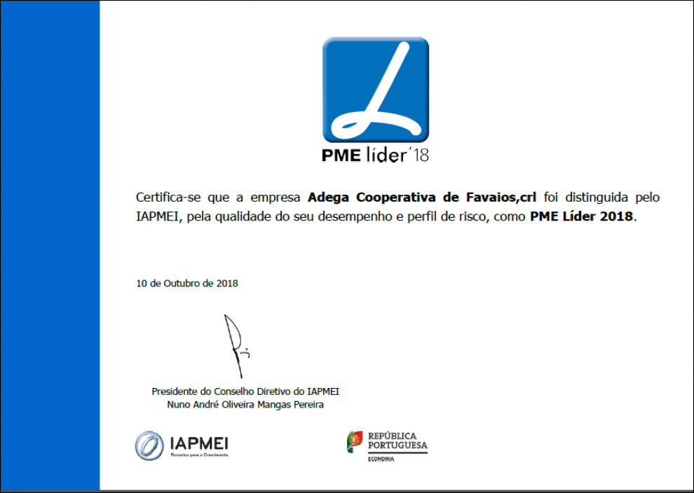 Estatuto de PME Líder, em 2018.