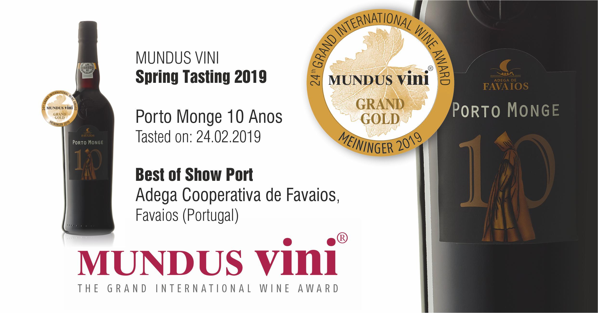 Adega de Favaios e mais um destaque a Nivel Internacional no Concurso MUNDUS VINI Spring Tasting 2019